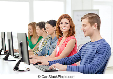 勉強, 学校, コンピュータ, 微笑, 学生