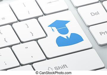 勉強, concept:, 学生, 上に, コンピュータキーボード, 背景