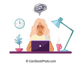 勉強, self-doubt, ラップトップ, 座る, イラスト, ∥あるいは∥, 漫画, fatigue., 女の子...