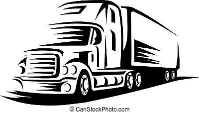 動いているトラック