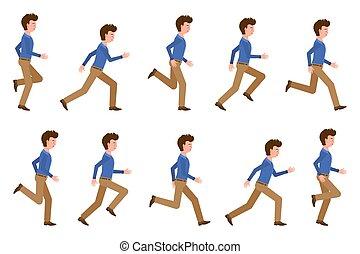 動いている男, セット, ブラウン, 漫画, illustration., ライト, 若い, 前方へ, 速い, ポーズを取る, オフィス, ベクトル, 動くこと, ズボン, 連続, 成人, 特徴