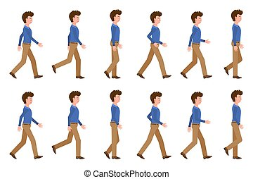 動いている男, セット, ブラウン, illustration., 行く, 漫画, ライト, ズボン, ポーズを取る, 前方へ, 連続, ベクトル, 成人, 歩くこと, 若い, 特徴
