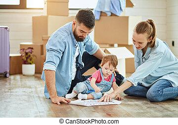 動きなさい, 新しい家, 家族, コーカサス人, 大きい