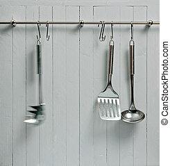 動き, に対して, 料理, copy-space, へら, 無作法, 木製である, 1(人・つ), 道具, rack;, 鋼鉄, wall;, tool;, よい, 台所, ぼやけ, ∥など∥