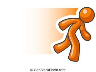 動き, オレンジ, 動くこと, 人, ぼやけ