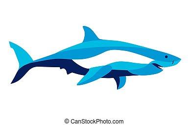 動き, サメ, 定型, ベクトル, 最新流行である, イメージ, 線