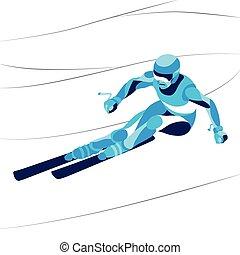 動き, スキーヤー, イラスト, silhouette., 定型, ベクトル, 最新流行である, 線