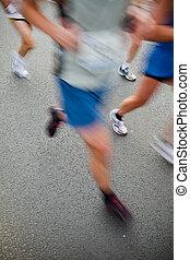 動き, -, 人, 都市, マラソン, 動くこと, ぼやけ