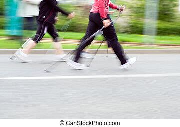 動き, 歩くこと, レース, nordic, ぼやけ