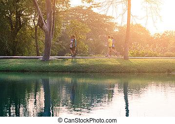 動き, 水, ランナー, 公園, 反射。, 動くこと, 都市, blured