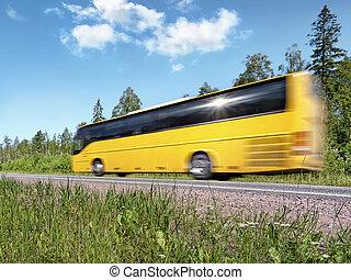 動き, 観光客, バス, 黄色, ハイウェー, ぼやけ, 反映, スピード違反, 田園, 太陽