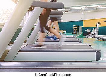 動き, 足, 人々, 踏み車, の間, 訓練