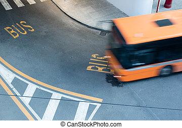 動き, 都市, ぼんやりさせられた, 道, バス