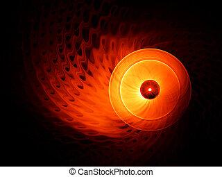 動き, 黒い背景, fiery, 円