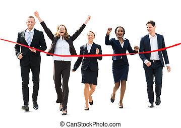 動くこと, ∥に向かって∥, businesspeople, リボン, 赤