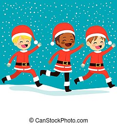 動くこと, クリスマス, santa, 子供