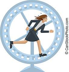 動くこと, ビジネス, 車輪, 女, ストレス, ハムスター