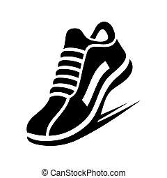 動くこと, ベクトル, 靴, icon.