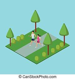 動くこと, 人々, 公園, 3d