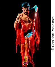 動くこと, 人, ジョガー, ジョッギング, トップレスで, 筋肉, runner., 背景, 隔離された, 黒