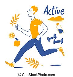 動くこと, 人, 活動的, 動機づけである, ライフスタイル, デザイン, ベクトル