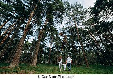 動くこと, 保有物, フォーカス, 森林, park., 。, 公園, 夏, 家族, 精選する, バックグラウンド。, お母さん, 幸せ, 手, 娘, 美しい, お父さん, 若い, 歩きなさい, 終わり