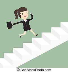 動くこと, 女, の上, ビジネス, 階段。