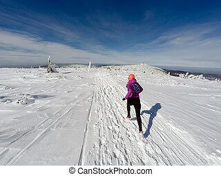 動くこと, 女, 上に, 冬, 道, 雪, そして, 白い 山