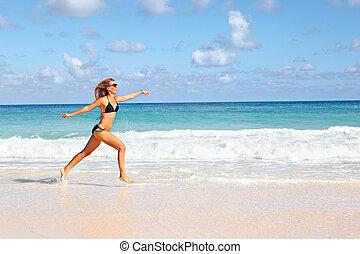 動くこと, 女, 浜。, 幸せ