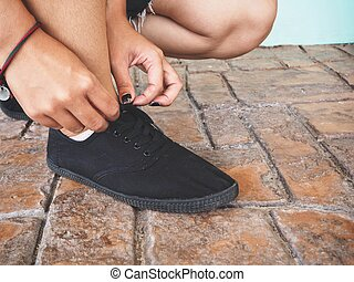 動くこと, 女, 靴, 結ぶこと, ひも