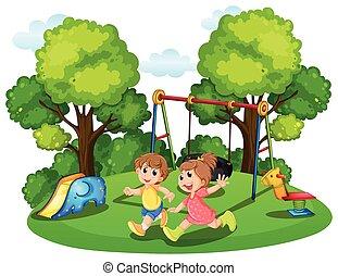 動くこと, 子供, 公園, 2