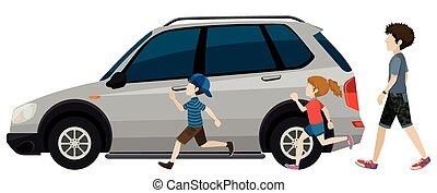動くこと, 子供, 駐車される, 車