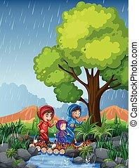 動くこと, 子供, 3, 雨
