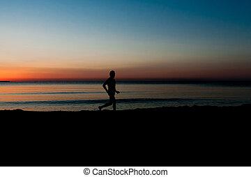 動くこと, 浜, 日の出, 人