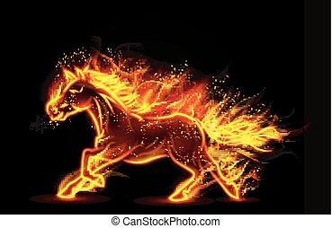 動くこと, 火, 馬, 燃焼