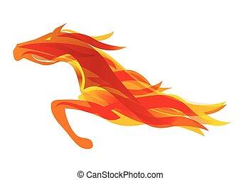 動くこと, 火, horse.