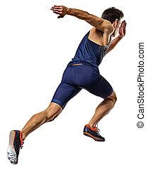 動くこと, 白, 隔離された, 背景, スプリンター, 人, スプリント, 若い, 運動競技, ランナー