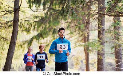 動くこと, 競争, レース, nature., multi, 人々, グループ, 世代