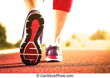 動くこと, 終わり, 使用, 靴, の上