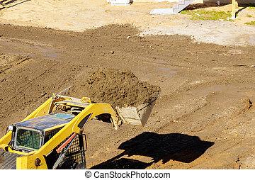 動く, ブルドーザー, 装置, 地面, 堀る, 建設, 土壌