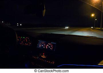 動く, 冬, 自動車, 通り, 都市, night.