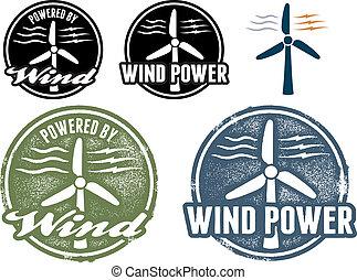 動力を与えられる 風