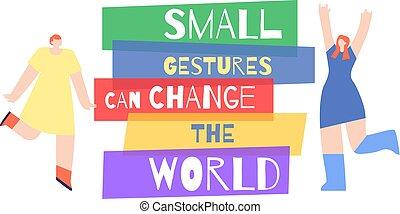 動機づけ, 女, スローガン, ポスター, 世界, 嘆願, 変化しなさい