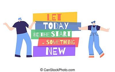 動機づけ, 女, ポスター, 始めなさい, 何か, 新しい, 今日