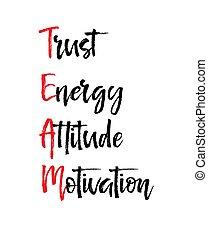 動機づけ, 概念, ビジネス, エネルギー, 態度, メッセージ, チーム, 信頼, カード