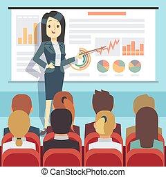 動機づけ, 概念, ビジネス, audience., ベクトル, スピーカー, 前部, 会議, セミナー