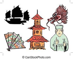 動機, セット, 中国のpagoda, 旅行, ドラゴン, 船, 陶磁器