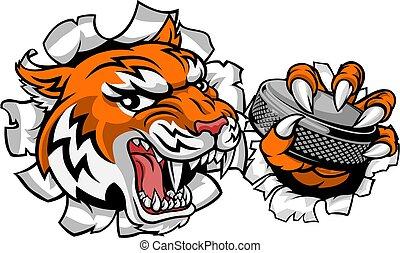 動物のスポーツ, ホッケー, 氷, tiger, プレーヤー, マスコット