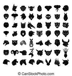 動物の頭, 入れ墨, 大きい, セット, collecti