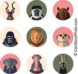 動物アイコン, ラウンド, アフリカ, 平ら